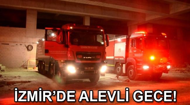 Bayraklı Şehir Hastanesi inşaatında yangın çıktı