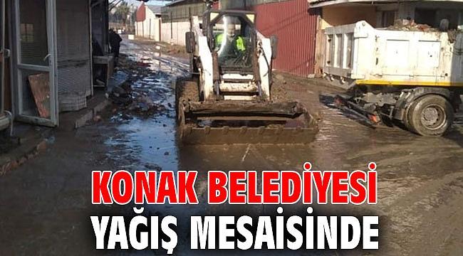 Konak Belediyesi yağış mesaisinde
